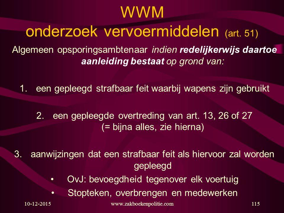 10-12-2015www.zakboekenpolitie.com115 WWM onderzoek vervoermiddelen (art.