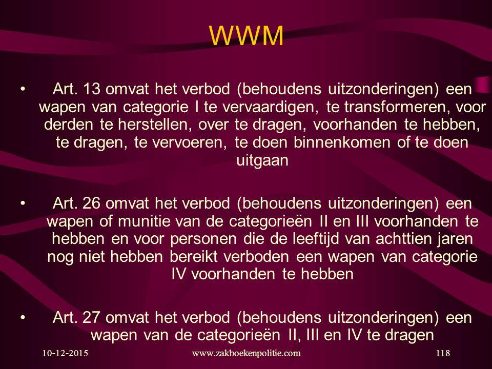 10-12-2015www.zakboekenpolitie.com118 WWM Art. 13 omvat het verbod (behoudens uitzonderingen) een wapen van categorie I te vervaardigen, te transforme