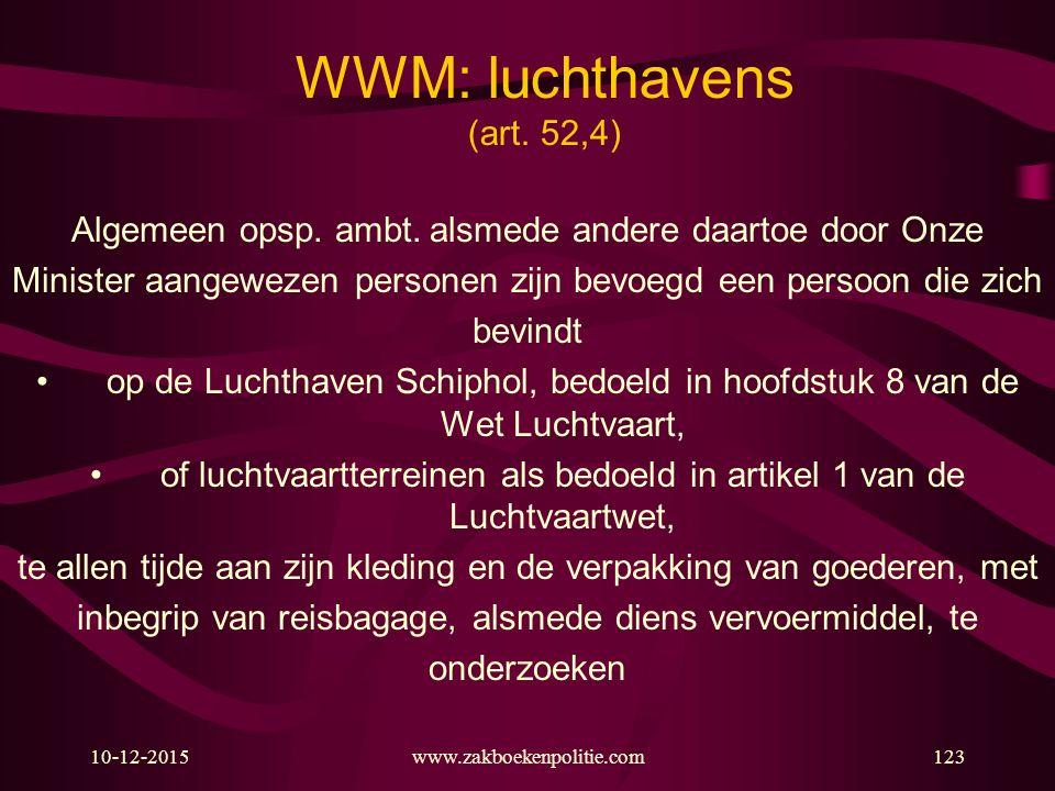 10-12-2015www.zakboekenpolitie.com123 WWM: luchthavens (art. 52,4) Algemeen opsp. ambt. alsmede andere daartoe door Onze Minister aangewezen personen