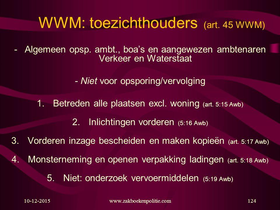 10-12-2015www.zakboekenpolitie.com124 WWM: toezichthouders (art. 45 WWM) -Algemeen opsp. ambt., boa's en aangewezen ambtenaren Verkeer en Waterstaat -