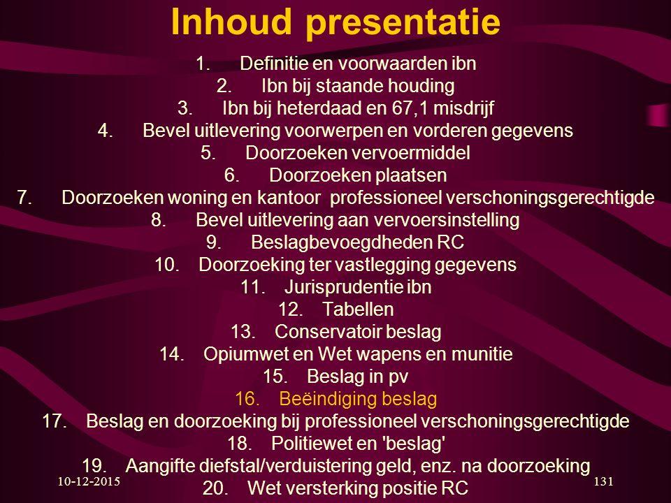 10-12-2015131 Inhoud presentatie 1.Definitie en voorwaarden ibn 2.Ibn bij staande houding 3.Ibn bij heterdaad en 67,1 misdrijf 4.Bevel uitlevering voo