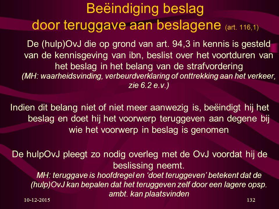 10-12-2015132 Beëindiging beslag door teruggave aan beslagene (art.