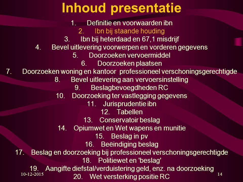 10-12-201514 Inhoud presentatie 1.Definitie en voorwaarden ibn 2.Ibn bij staande houding 3.Ibn bij heterdaad en 67,1 misdrijf 4.Bevel uitlevering voor