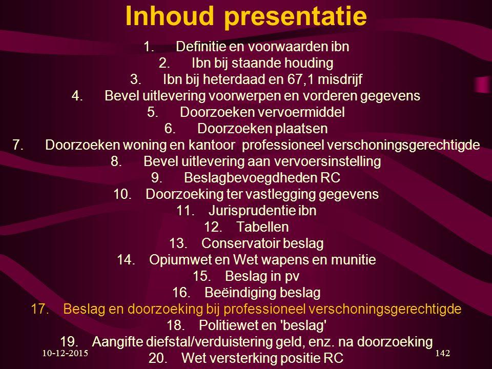 10-12-2015142 Inhoud presentatie 1.Definitie en voorwaarden ibn 2.Ibn bij staande houding 3.Ibn bij heterdaad en 67,1 misdrijf 4.Bevel uitlevering voo