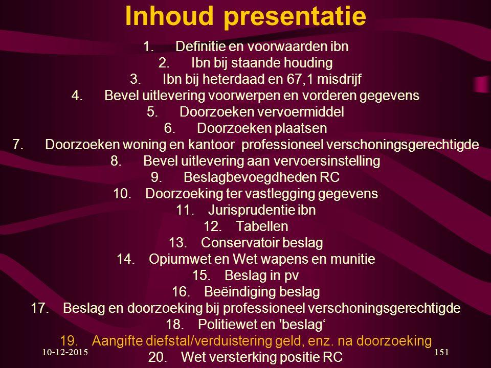 10-12-2015151 Inhoud presentatie 1.Definitie en voorwaarden ibn 2.Ibn bij staande houding 3.Ibn bij heterdaad en 67,1 misdrijf 4.Bevel uitlevering voo