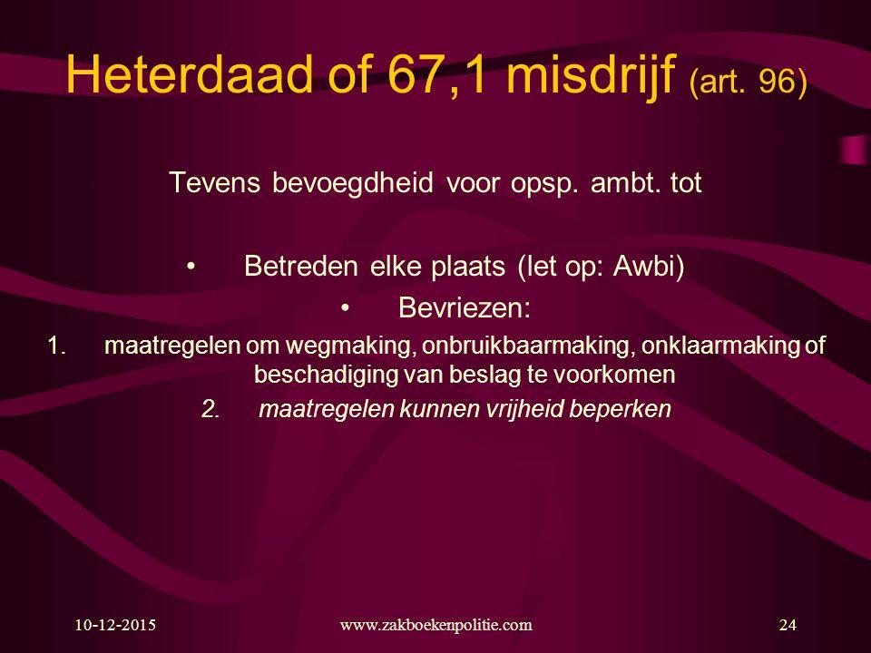 10-12-2015www.zakboekenpolitie.com24 Heterdaad of 67,1 misdrijf (art. 96) Tevens bevoegdheid voor opsp. ambt. tot Betreden elke plaats (let op: Awbi)
