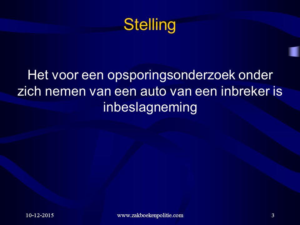 10-12-2015www.zakboekenpolitie.com54 Stelling Tijdens een schouw mogen geen voorwerpen in beslag genomen worden