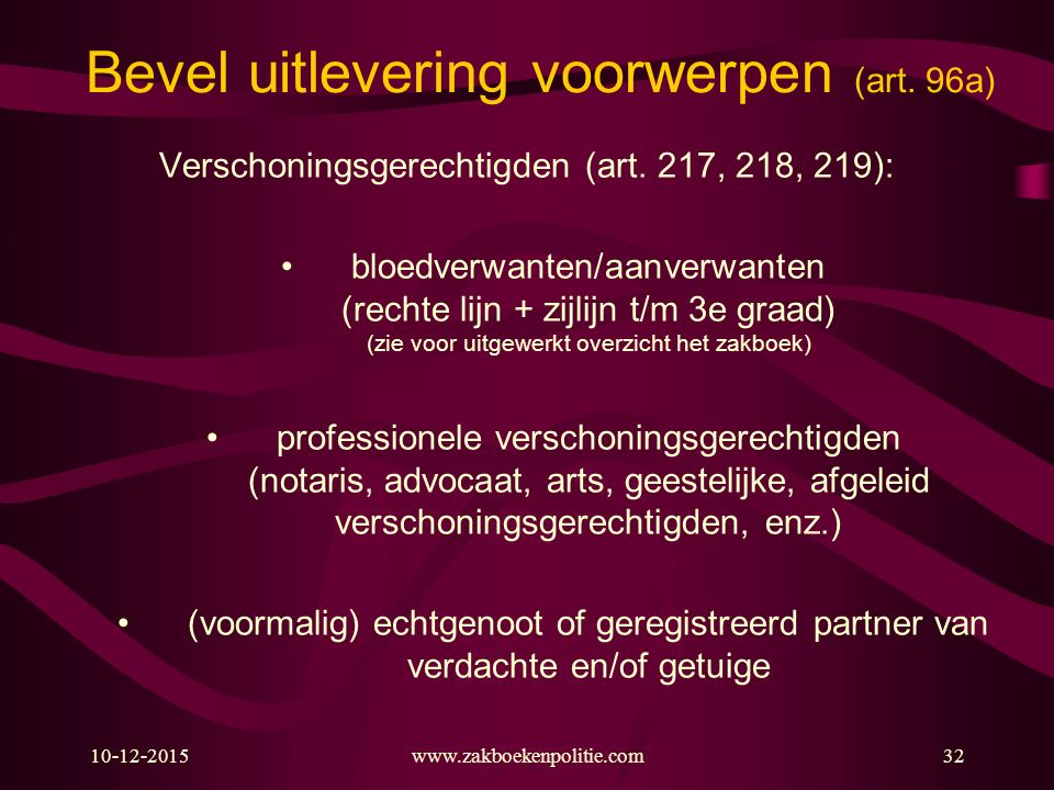 10-12-2015www.zakboekenpolitie.com32 Bevel uitlevering voorwerpen (art. 96a) Verschoningsgerechtigden (art. 217, 218, 219): bloedverwanten/aanverwante