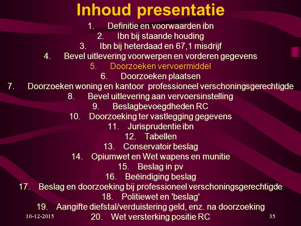 10-12-201535 Inhoud presentatie 1.Definitie en voorwaarden ibn 2.Ibn bij staande houding 3.Ibn bij heterdaad en 67,1 misdrijf 4.Bevel uitlevering voor