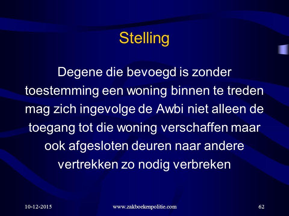 10-12-2015www.zakboekenpolitie.com62 Stelling Degene die bevoegd is zonder toestemming een woning binnen te treden mag zich ingevolge de Awbi niet all