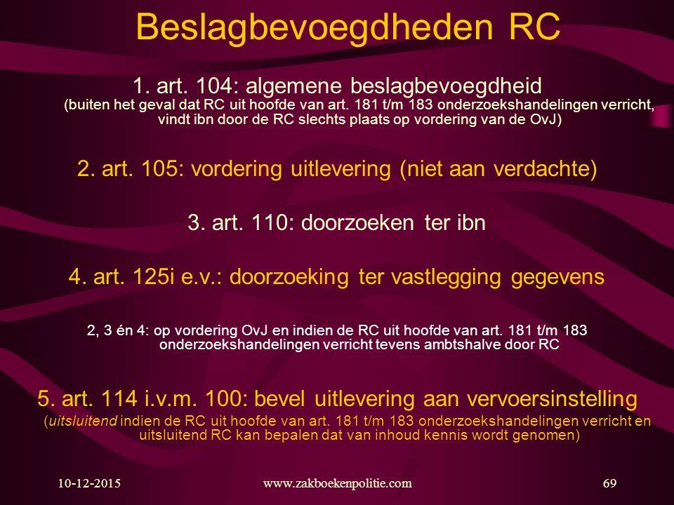 10-12-2015www.zakboekenpolitie.com69 Beslagbevoegdheden RC 1. art. 104: algemene beslagbevoegdheid (buiten het geval dat RC uit hoofde van art. 181 t/