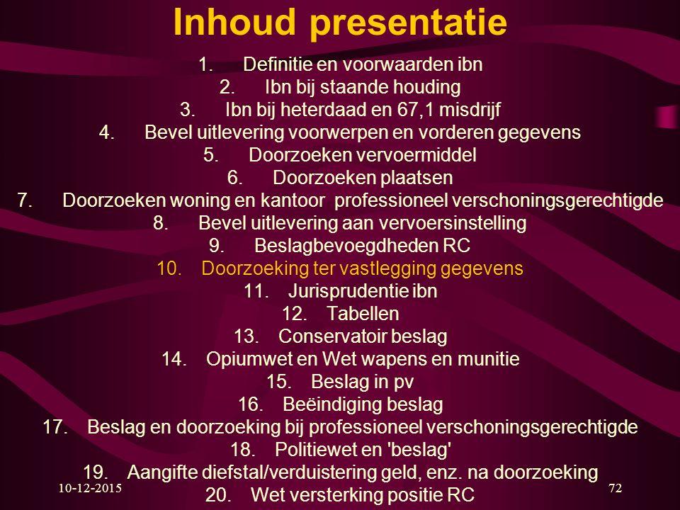 10-12-201572 Inhoud presentatie 1.Definitie en voorwaarden ibn 2.Ibn bij staande houding 3.Ibn bij heterdaad en 67,1 misdrijf 4.Bevel uitlevering voor
