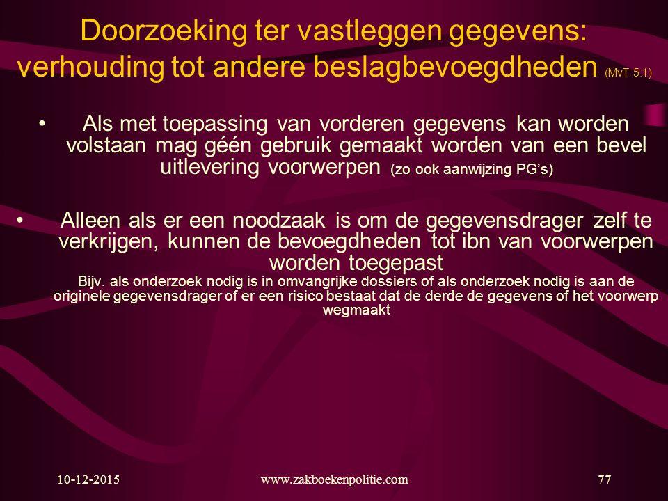10-12-2015www.zakboekenpolitie.com77 Doorzoeking ter vastleggen gegevens: verhouding tot andere beslagbevoegdheden (MvT 5.1) Als met toepassing van vo