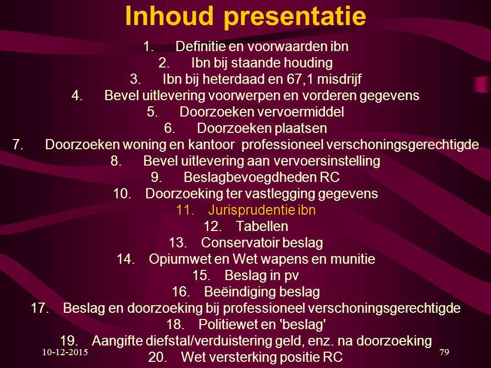 10-12-201579 Inhoud presentatie 1.Definitie en voorwaarden ibn 2.Ibn bij staande houding 3.Ibn bij heterdaad en 67,1 misdrijf 4.Bevel uitlevering voor