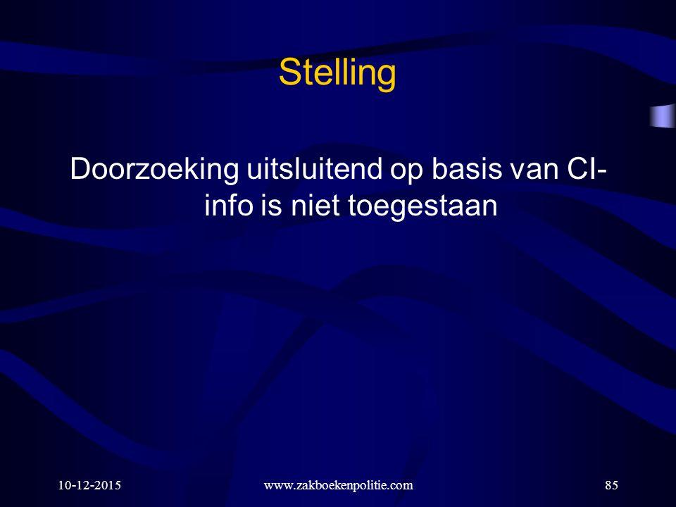 10-12-2015www.zakboekenpolitie.com85 Stelling Doorzoeking uitsluitend op basis van CI- info is niet toegestaan