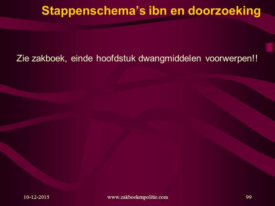 10-12-2015www.zakboekenpolitie.com99 Stappenschema's ibn en doorzoeking Zie zakboek, einde hoofdstuk dwangmiddelen voorwerpen!!