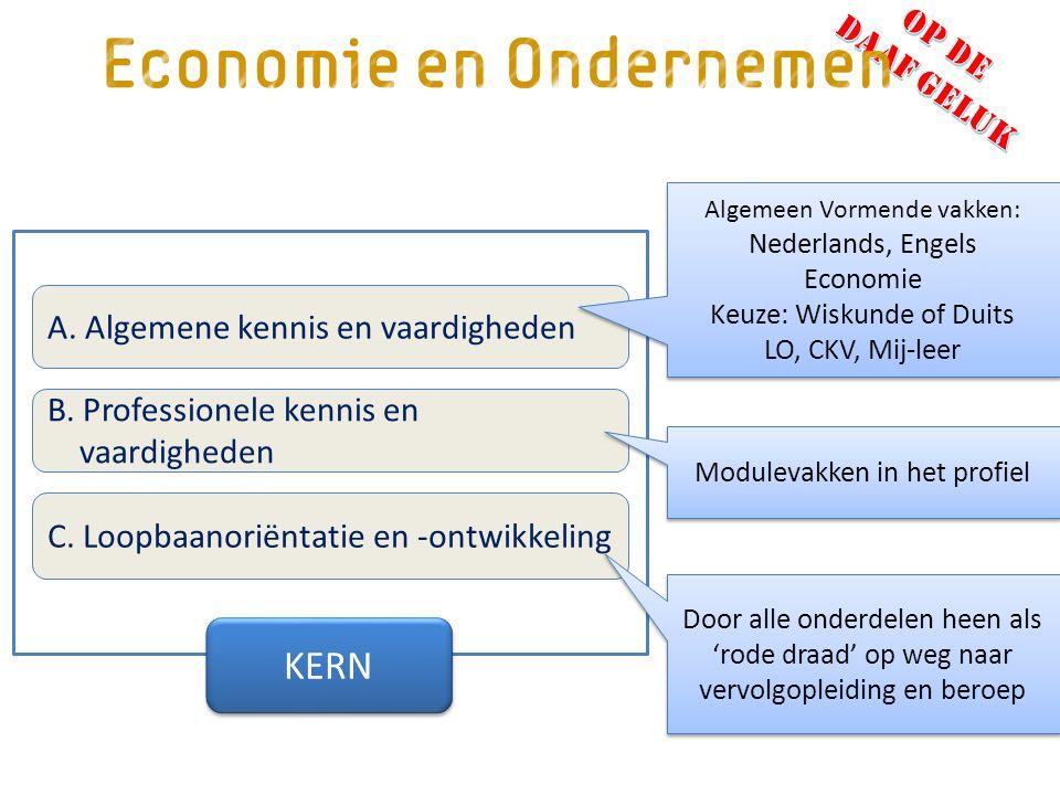 A. Algemene kennis en vaardigheden B. Professionele kennis en vaardigheden C.