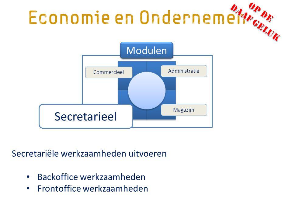 Secretariële werkzaamheden uitvoeren Backoffice werkzaamheden Frontoffice werkzaamheden Magazijn Administratie Commercieel Secretarieel Modulen
