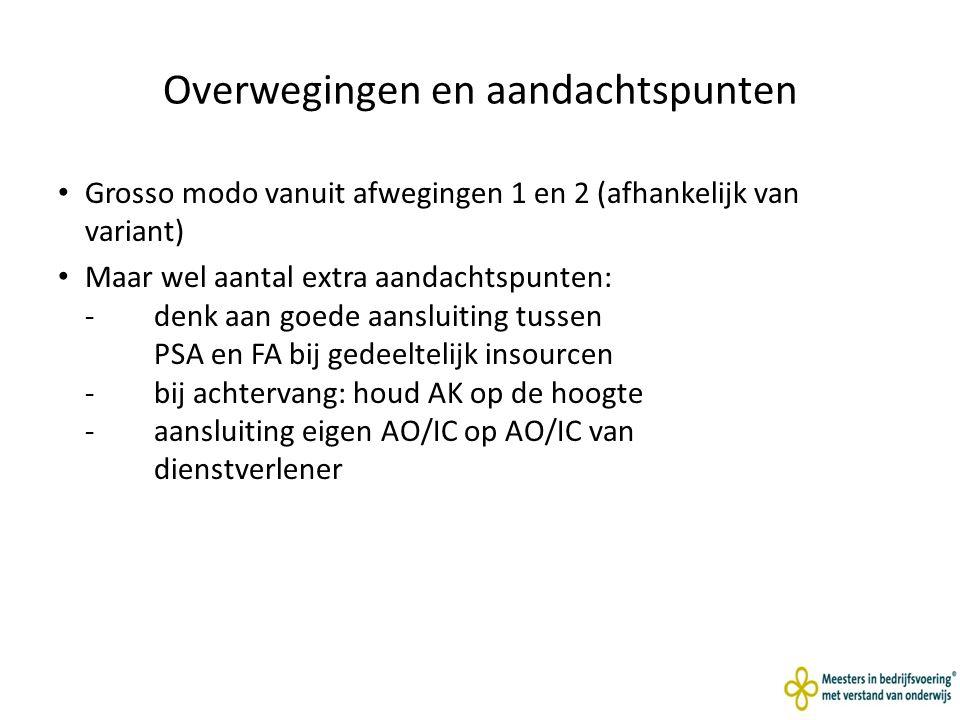 Overwegingen en aandachtspunten Grosso modo vanuit afwegingen 1 en 2 (afhankelijk van variant) Maar wel aantal extra aandachtspunten: - denk aan goede aansluiting tussen PSA en FA bij gedeeltelijk insourcen -bij achtervang: houd AK op de hoogte -aansluiting eigen AO/IC op AO/IC van dienstverlener