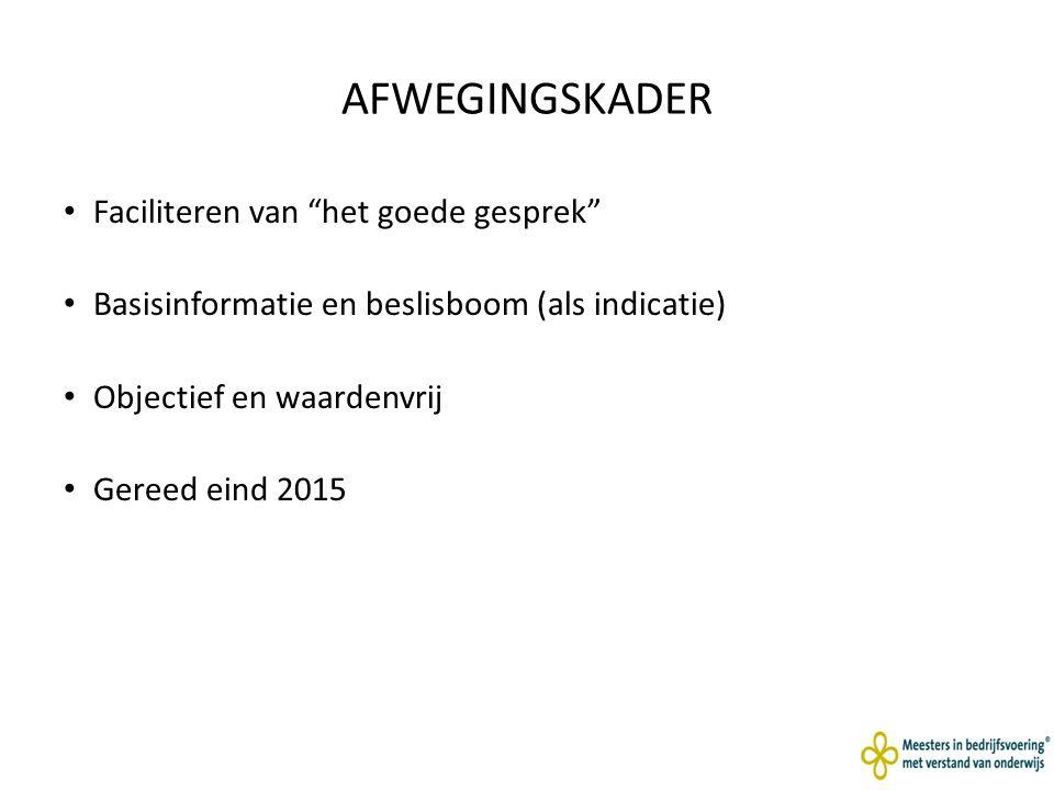 AFWEGINGSKADER Faciliteren van het goede gesprek Basisinformatie en beslisboom (als indicatie) Objectief en waardenvrij Gereed eind 2015