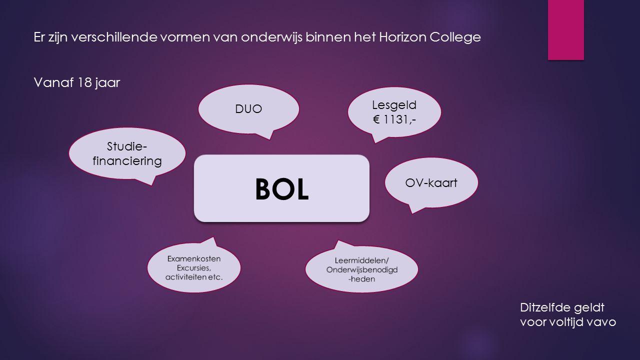 Er zijn verschillende vormen van onderwijs binnen het Horizon College Vanaf 18 jaar BOL Lesgeld € 1131,- DUO Studie- financiering OV-kaart Ditzelfde g
