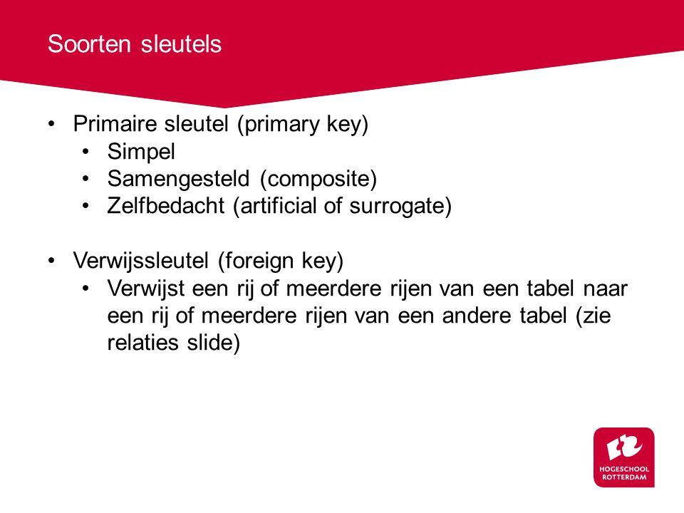 Soorten sleutels Primaire sleutel (primary key) Simpel Samengesteld (composite) Zelfbedacht (artificial of surrogate) Verwijssleutel (foreign key) Ver