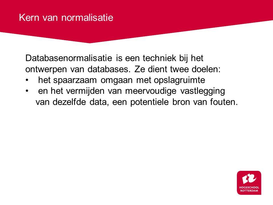 Kern van normalisatie Databasenormalisatie is een techniek bij het ontwerpen van databases. Ze dient twee doelen: het spaarzaam omgaan met opslagruimt