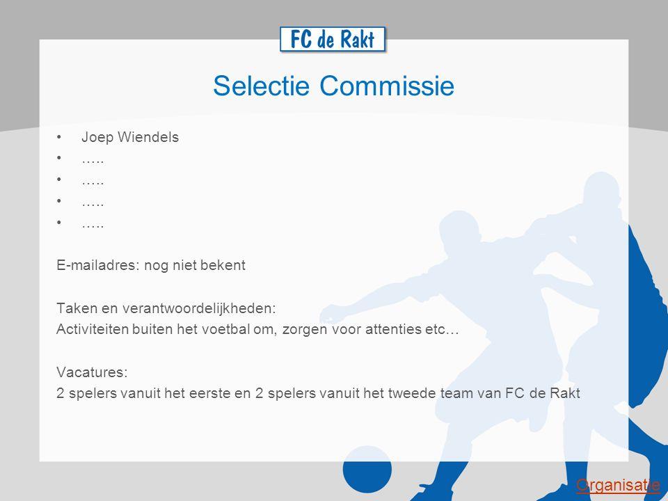 Selectie Commissie Joep Wiendels ….. E-mailadres: nog niet bekent Taken en verantwoordelijkheden: Activiteiten buiten het voetbal om, zorgen voor atte