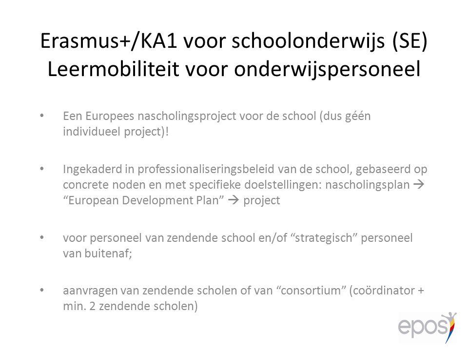 Een Europees nascholingsproject voor de school (dus géén individueel project)! Ingekaderd in professionaliseringsbeleid van de school, gebaseerd op co