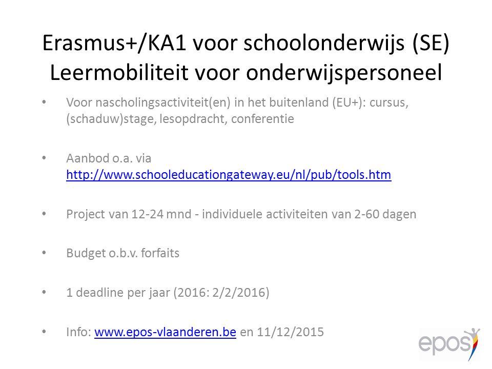 Voor nascholingsactiviteit(en) in het buitenland (EU+): cursus, (schaduw)stage, lesopdracht, conferentie Aanbod o.a. via http://www.schooleducationgat