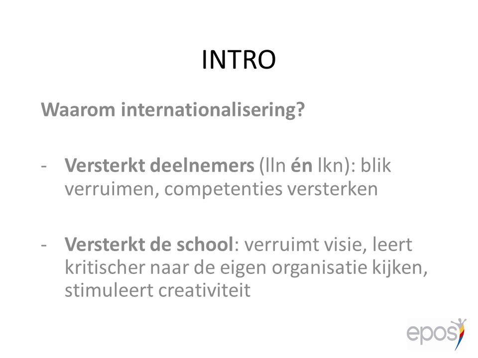 INTRO Waarom internationalisering? -Versterkt deelnemers (lln én lkn): blik verruimen, competenties versterken -Versterkt de school: verruimt visie, l