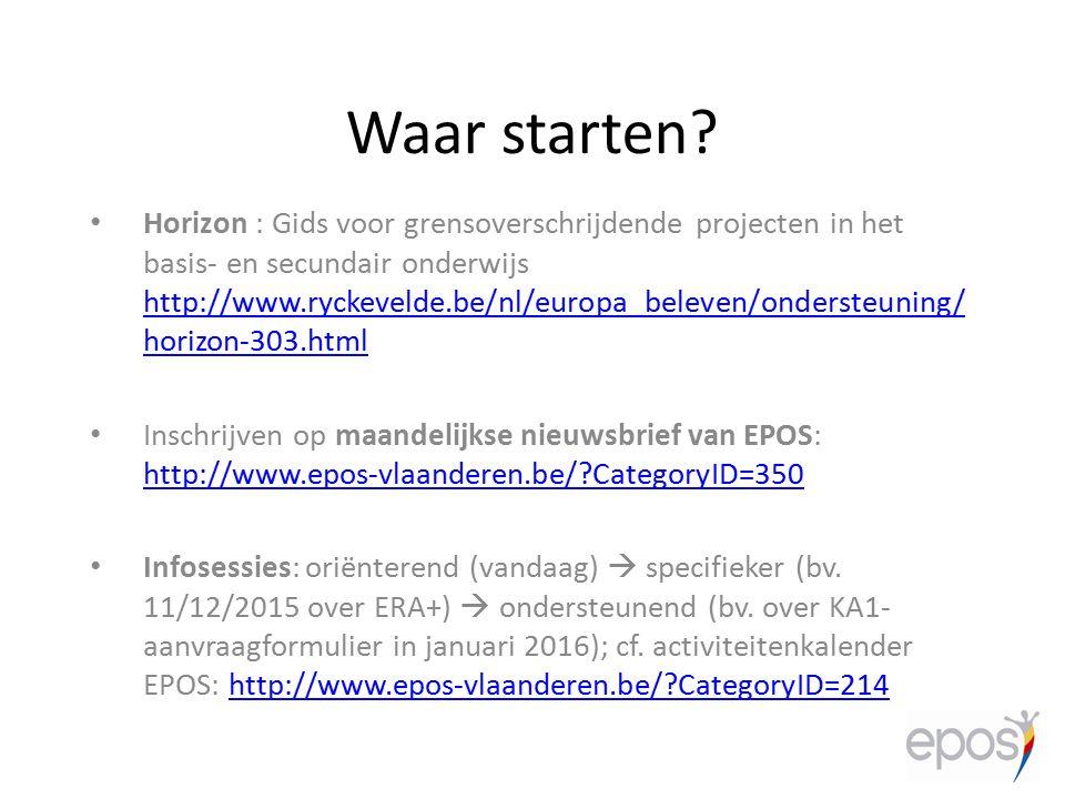 Waar starten? Horizon : Gids voor grensoverschrijdende projecten in het basis- en secundair onderwijs http://www.ryckevelde.be/nl/europa_beleven/onder