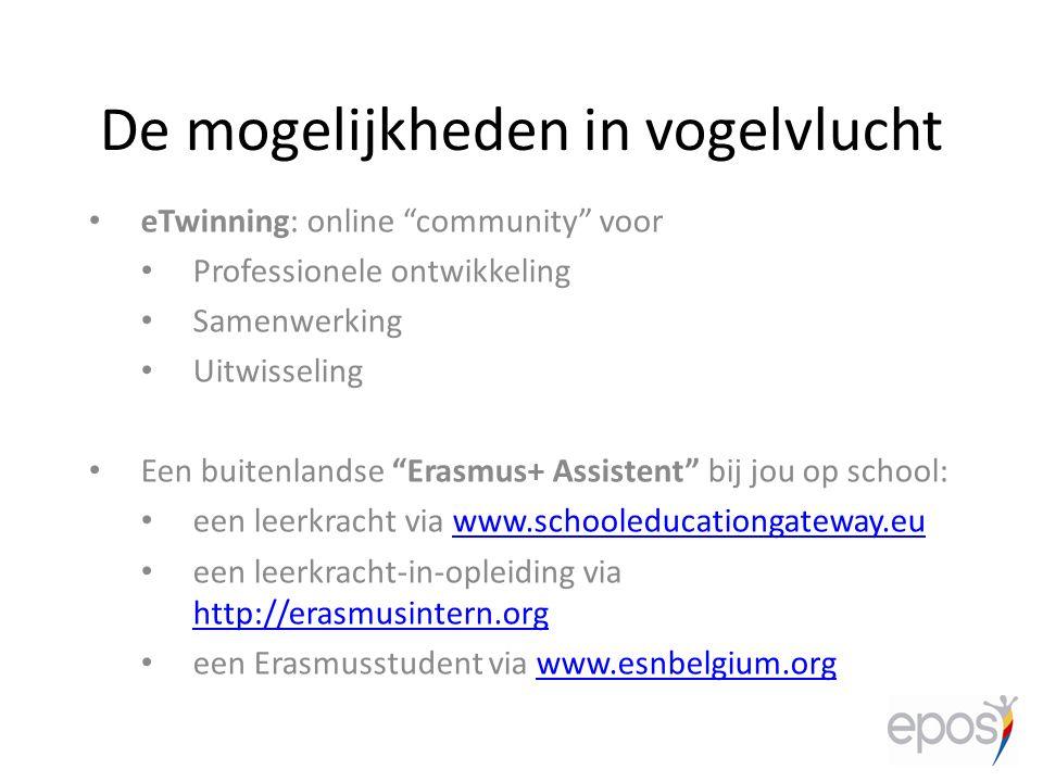 """De mogelijkheden in vogelvlucht eTwinning: online """"community"""" voor Professionele ontwikkeling Samenwerking Uitwisseling Een buitenlandse """"Erasmus+ Ass"""