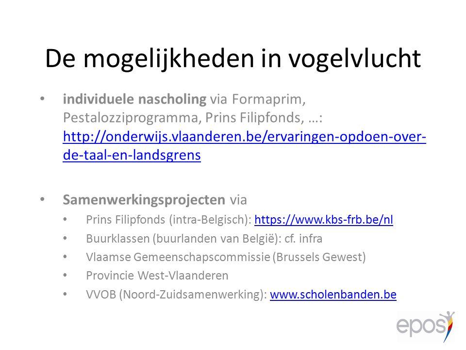 De mogelijkheden in vogelvlucht individuele nascholing via Formaprim, Pestalozziprogramma, Prins Filipfonds, …: http://onderwijs.vlaanderen.be/ervarin