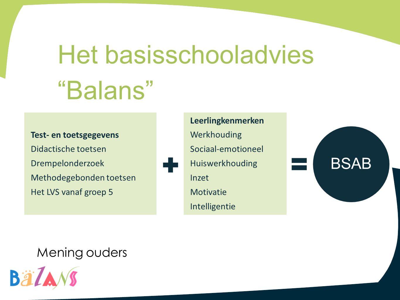 """Het basisschooladvies """"Balans"""" Leerlingkenmerken Werkhouding Sociaal-emotioneel Huiswerkhouding Inzet Motivatie Intelligentie Test- en toetsgegevens D"""