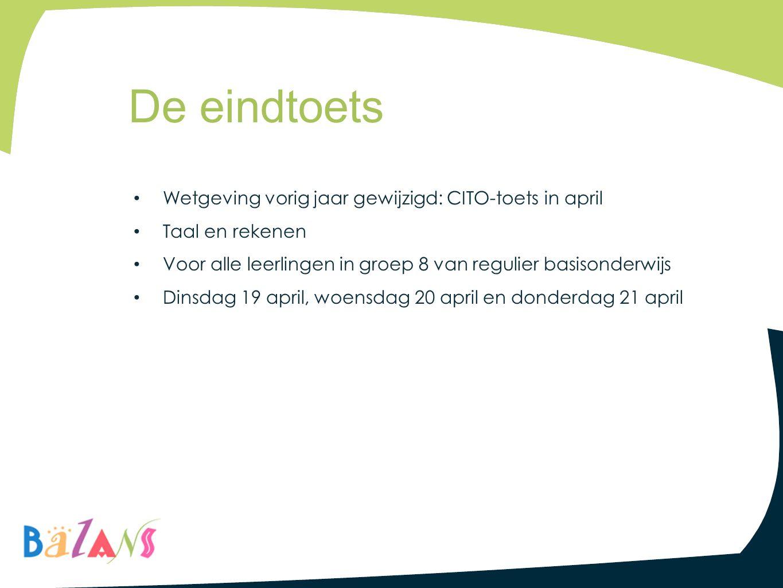 Wetgeving vorig jaar gewijzigd: CITO-toets in april Taal en rekenen Voor alle leerlingen in groep 8 van regulier basisonderwijs Dinsdag 19 april, woen