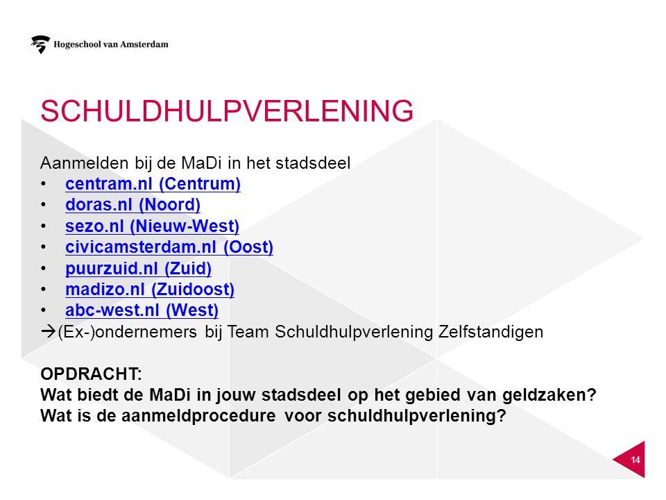 SCHULDHULPVERLENING Aanmelden bij de MaDi in het stadsdeel centram.nl (Centrum) doras.nl (Noord) sezo.nl (Nieuw-West) civicamsterdam.nl (Oost) puurzui