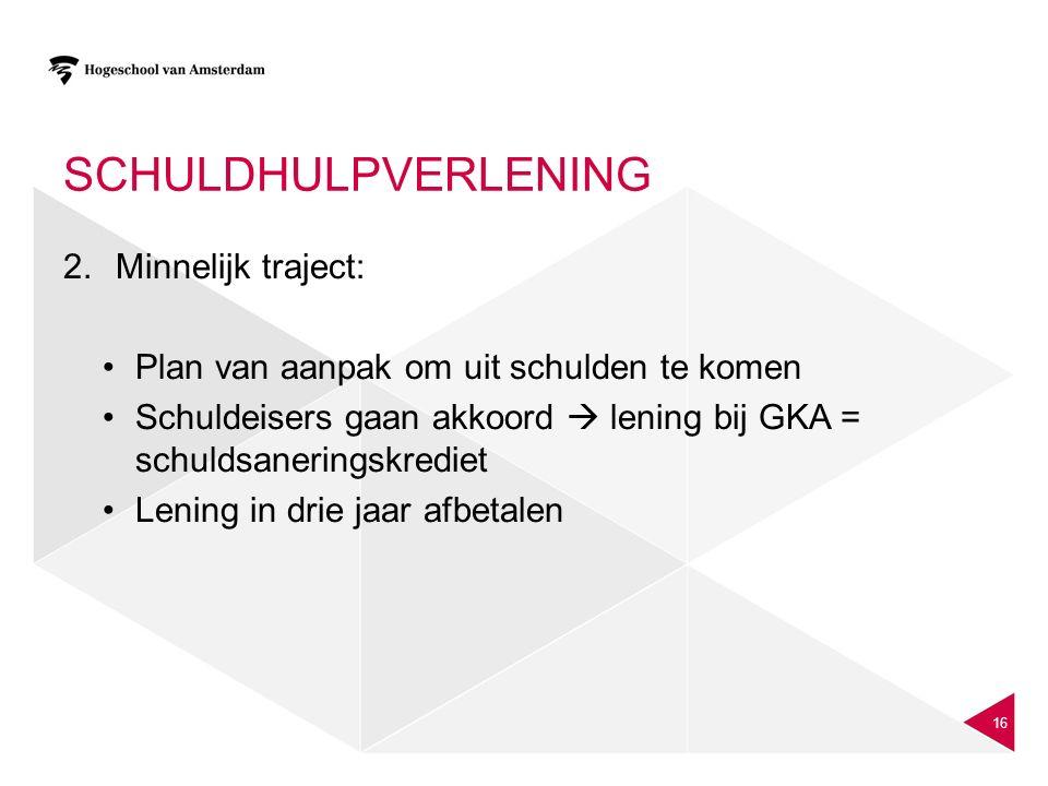 SCHULDHULPVERLENING 2.Minnelijk traject: Plan van aanpak om uit schulden te komen Schuldeisers gaan akkoord  lening bij GKA = schuldsaneringskrediet