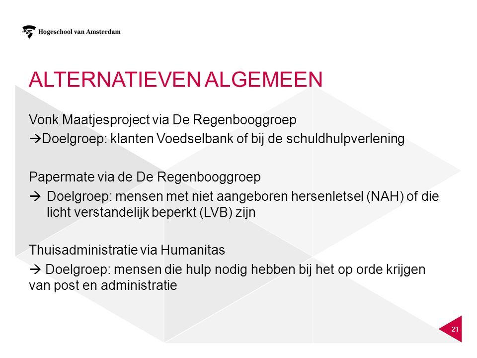 ALTERNATIEVEN ALGEMEEN Vonk Maatjesproject via De Regenbooggroep  Doelgroep: klanten Voedselbank of bij de schuldhulpverlening Papermate via de De Re