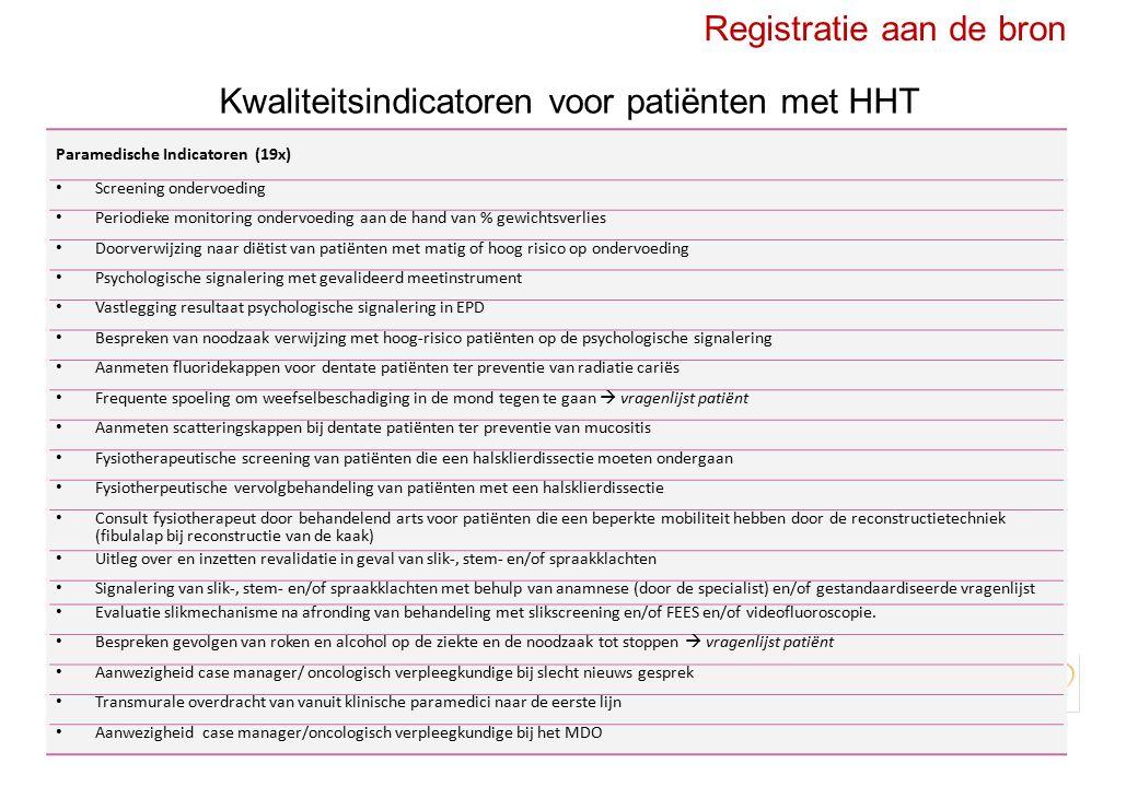 Registratie aan de bron Kwaliteitsindicatoren voor patiënten met HHT VerwijzingIntakeDiagnostiekBehandelingFollow-up 55 149 196167 Bereid tot registratie Kwaliteits indicatoren 33% overlap88% overlap