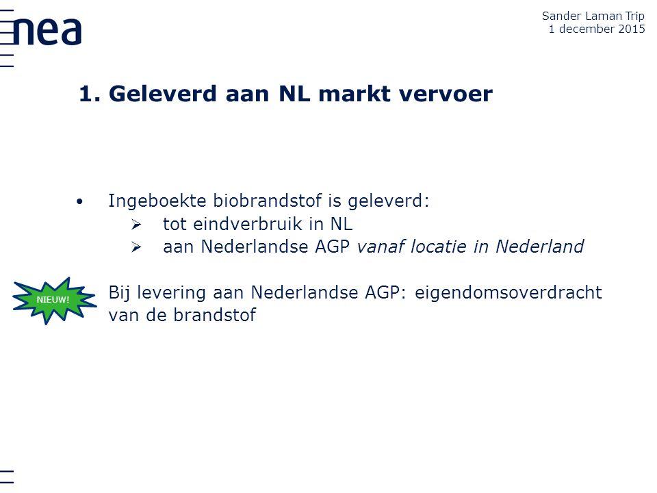 1. Geleverd aan NL markt vervoer Ingeboekte biobrandstof is geleverd:  tot eindverbruik in NL  aan Nederlandse AGP vanaf locatie in Nederland Bij le