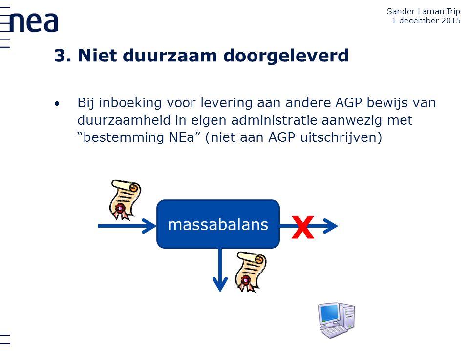 """Bij inboeking voor levering aan andere AGP bewijs van duurzaamheid in eigen administratie aanwezig met """"bestemming NEa"""" (niet aan AGP uitschrijven) 3."""