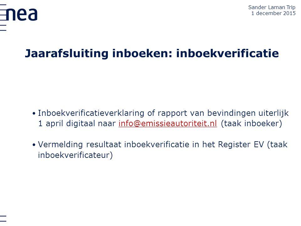 Jaarafsluiting inboeken: inboekverificatie Inboekverificatieverklaring of rapport van bevindingen uiterlijk 1 april digitaal naar info@emissieautorite
