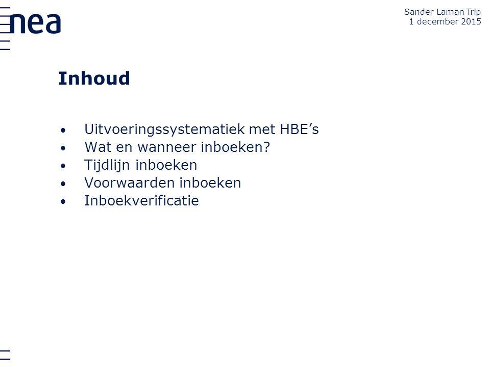 Inhoud Uitvoeringssystematiek met HBE's Wat en wanneer inboeken? Tijdlijn inboeken Voorwaarden inboeken Inboekverificatie Sander Laman Trip 1 december