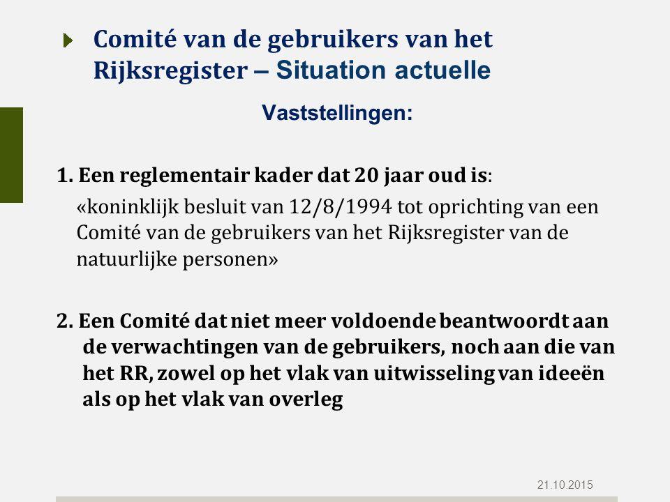 Comité van de gebruikers van het Rijksregister – Situation actuelle Vaststellingen: 1.