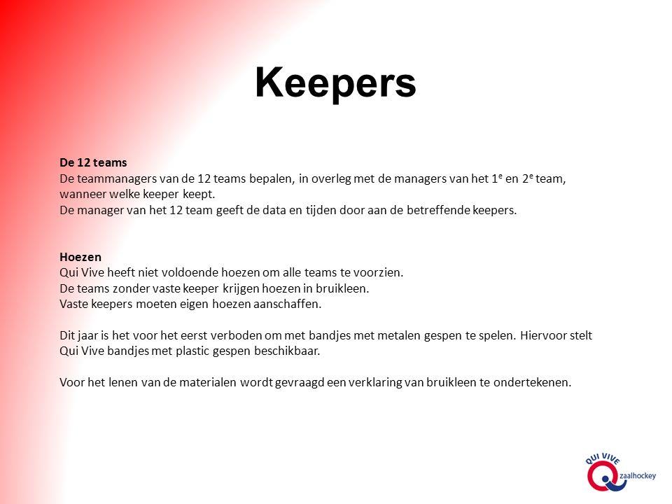 Keepers De 12 teams De teammanagers van de 12 teams bepalen, in overleg met de managers van het 1 e en 2 e team, wanneer welke keeper keept.
