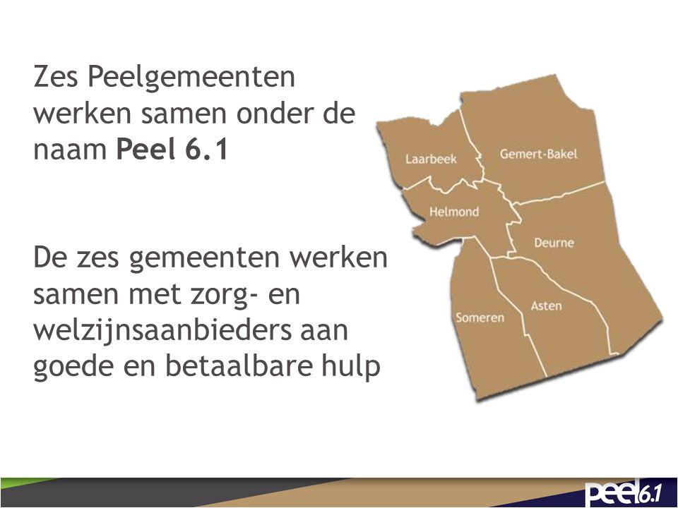 Zes Peelgemeenten werken samen onder de naam Peel 6.1 De zes gemeenten werken samen met zorg- en welzijnsaanbieders aan goede en betaalbare hulp