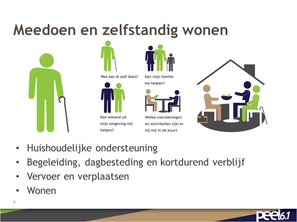 Meedoen en zelfstandig wonen Huishoudelijke ondersteuning Begeleiding, dagbesteding en kortdurend verblijf Vervoer en verplaatsen Wonen 7