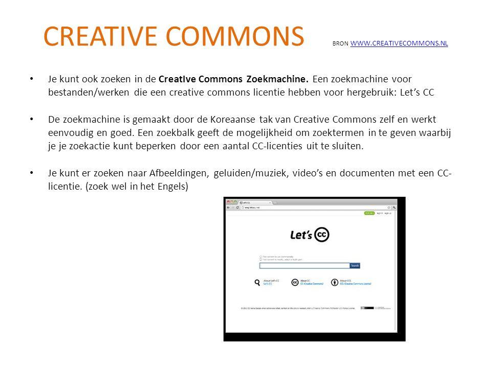 Je kunt ook zoeken in de CreatIve Commons Zoekmachine. Een zoekmachine voor bestanden/werken die een creative commons licentie hebben voor hergebruik: