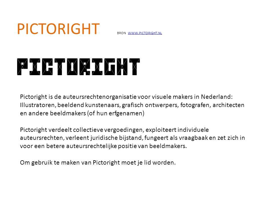 PICTORIGHT BRON WWW.PICTORIGHT.NLWWW.PICTORIGHT.NL Pictoright is de auteursrechtenorganisatie voor visuele makers in Nederland: Illustratoren, beelden